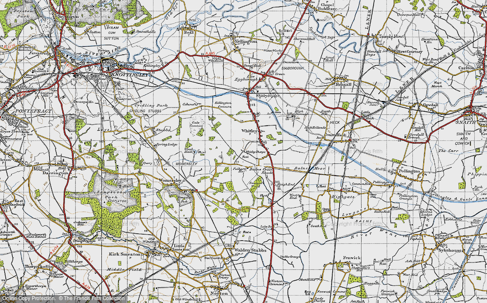 Old Map of Historic Map covering Balne Moor Cross Roads in 1947