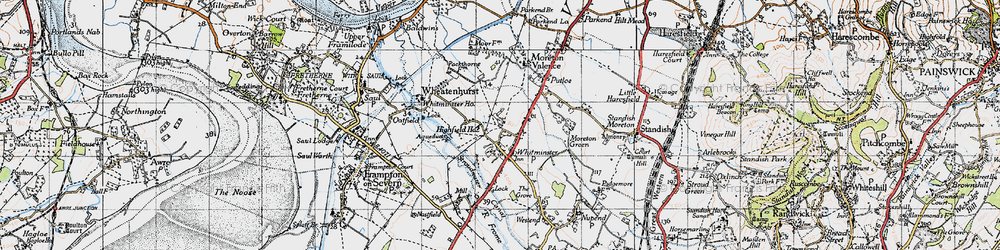 Old map of Whitminster in 1946