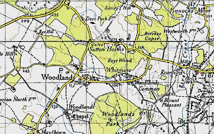 Old map of Whitmore in 1940