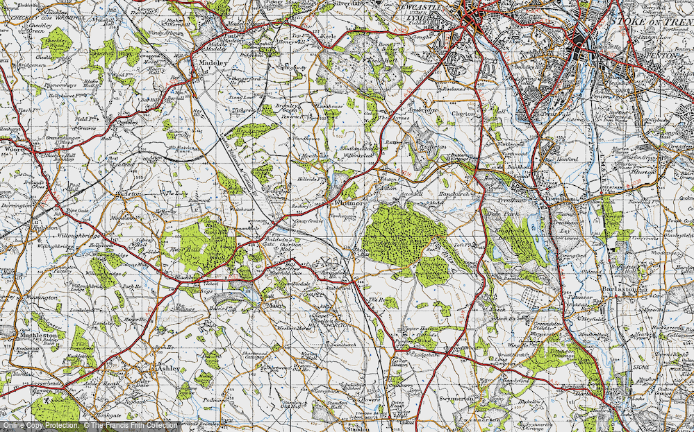 Old Map of Whitmore, 1946 in 1946
