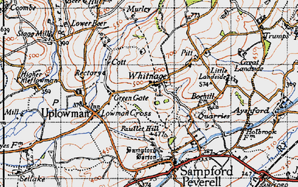 Old map of Whitnage in 1946