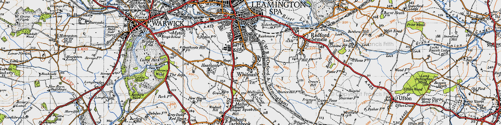 Old map of Whitnash in 1946