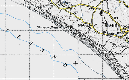 Old map of Whitsand Bay in 1946