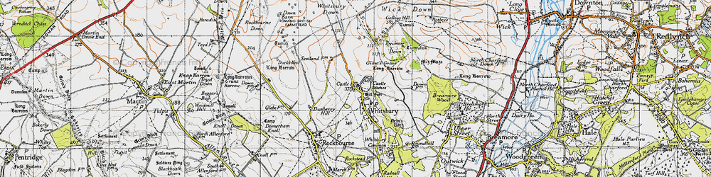 Old map of Whitsbury Down in 1940