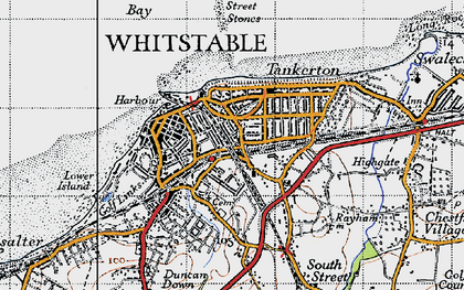 Old map of Whitstable in 1947