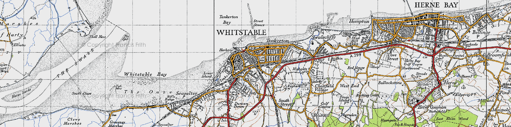 Old map of Whitstable Street in 1947