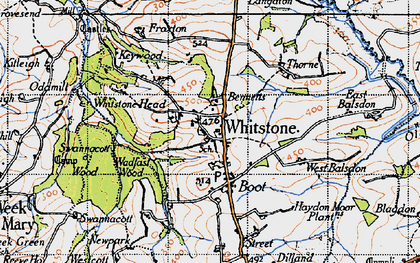 Old map of Willsworthy Cross in 1946