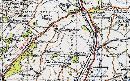 Old map of Whittingslow in 1947