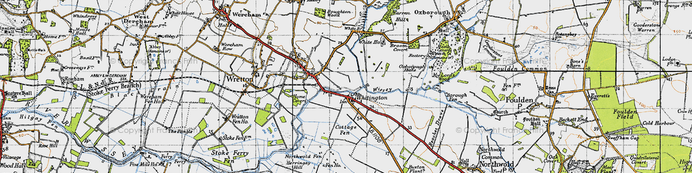 Old map of Whittington in 1946