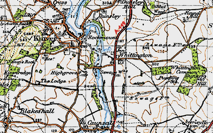 Old map of Whittington Common in 1947