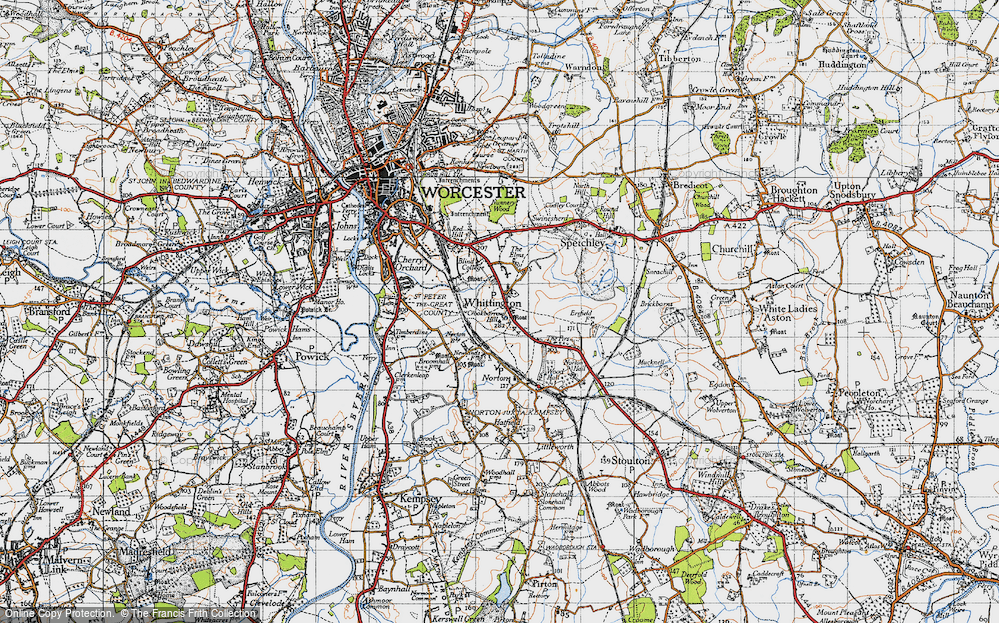 Old Map of Historic Map covering Worcestershire in 1947
