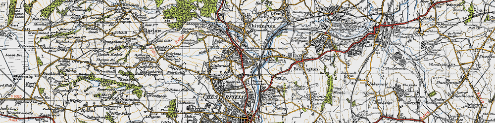 Old map of Whittington Moor in 1947