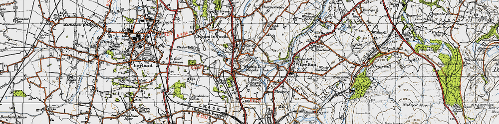 Old map of Whittle-le-Woods in 1947