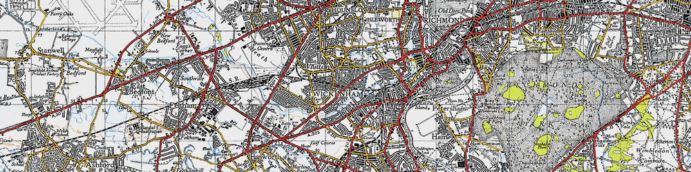 Old map of Whitton in 1945