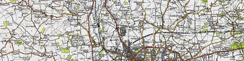 Old map of Whitton in 1946