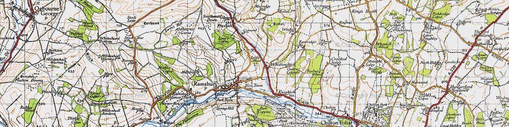 Old map of Whittonditch in 1940