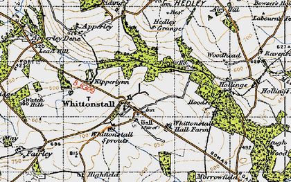 Old map of Whittonstall Sproats in 1947