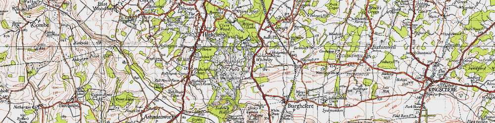Old map of Whitway in 1945