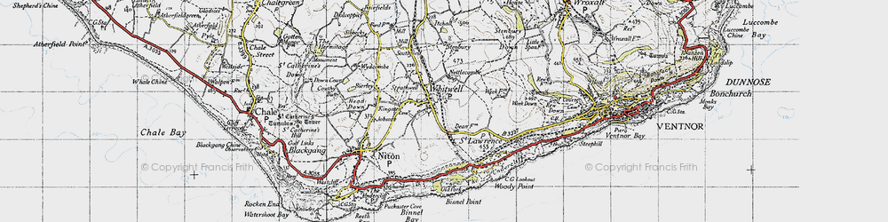 Old map of Whitwell in 1945
