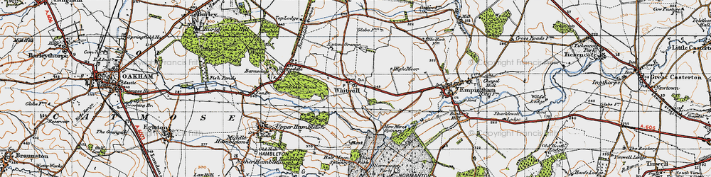 Old map of Whitwell in 1946