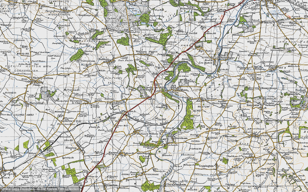 Old Map of Whitwell-on-the-Hill, 1947 in 1947