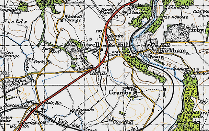 Old map of Whitwell-on-the-Hill in 1947