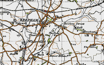 Old map of Whitwell Street in 1945