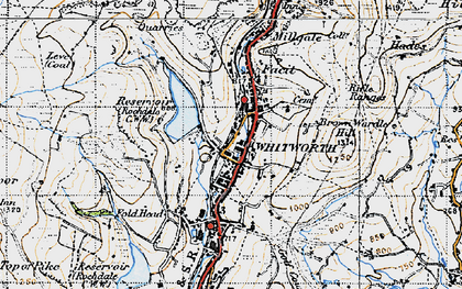 Old map of Whitworth in 1947