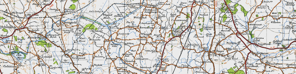 Old map of Whixall in 1947