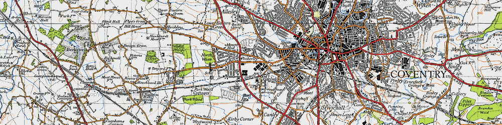 Old map of Whoberley in 1946