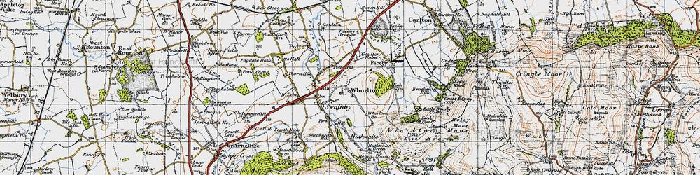 Old map of Whorlton in 1947