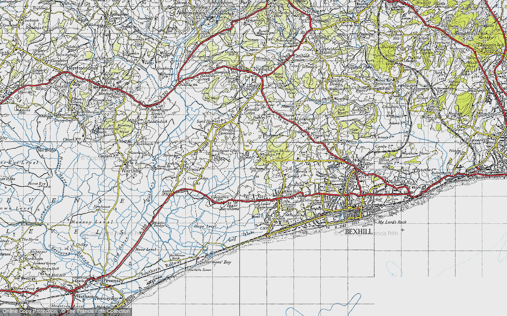 Old Map of Whydown, 1940 in 1940