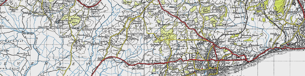 Old map of Whydown in 1940