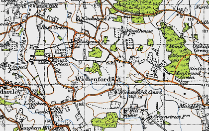 Old map of Wichenford in 1947