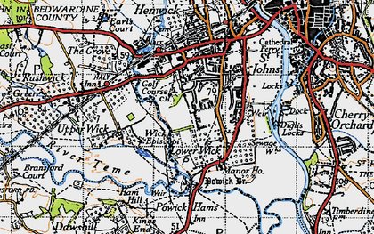 Old map of Wick Episcopi in 1947