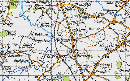 Old map of Ayleswade in 1940