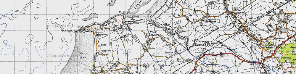 Old map of Wick St Lawrence in 1946