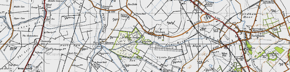 Old map of Wicken Lode in 1946