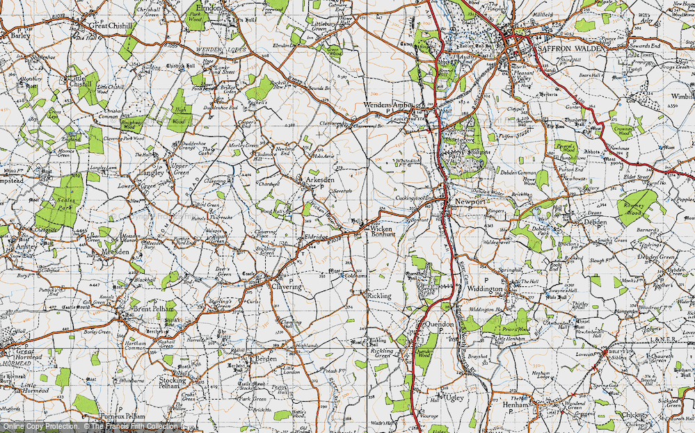 Old Map of Historic Map covering Wicken Water in 1946