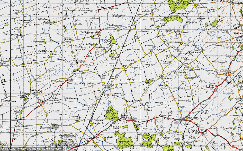 Old Map of Wickenby, 1947 in 1947