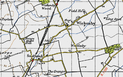 Old map of Wickenby in 1947