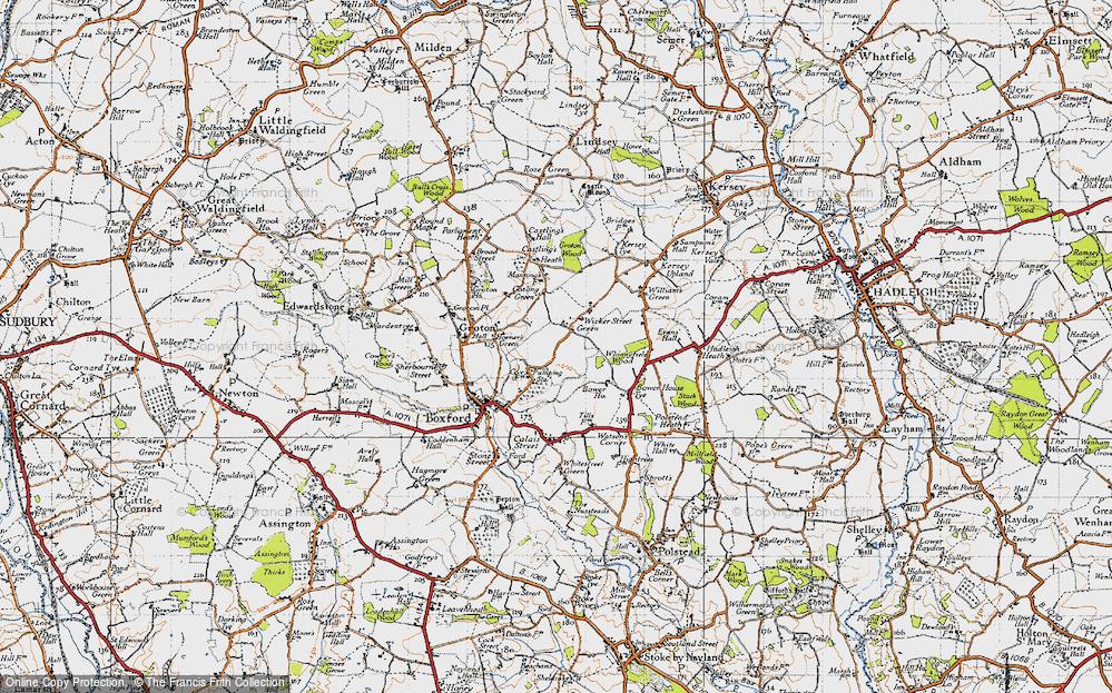 Old Map of Wicker Street Green, 1946 in 1946