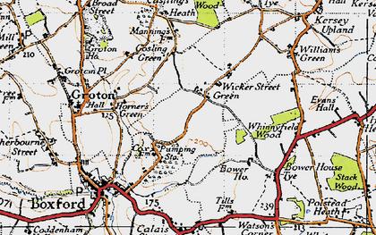 Old map of Wicker Street Green in 1946