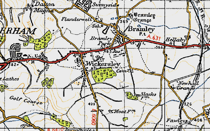 Old map of Wickersley in 1947