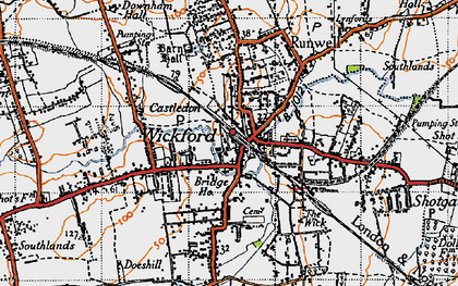 Old map of Wickford in 1945