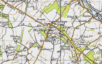 Old map of Wickham in 1945