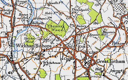 Old map of Wickham Bishops in 1945