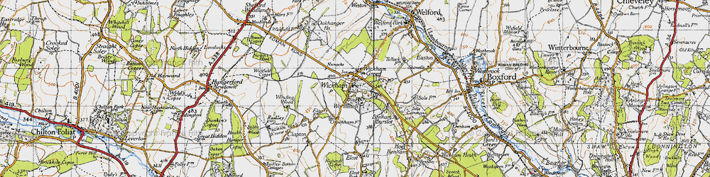 Old map of Wickham Green in 1945