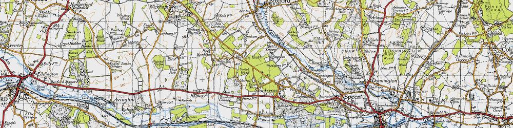 Old map of Wickham Heath in 1945