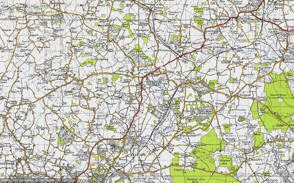 Old Map of Wickham Market, 1946 in 1946